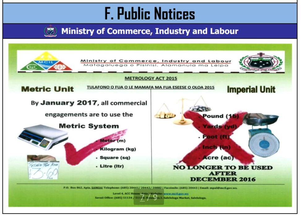 Samoa Ministry of Commerce Public Notice 2017